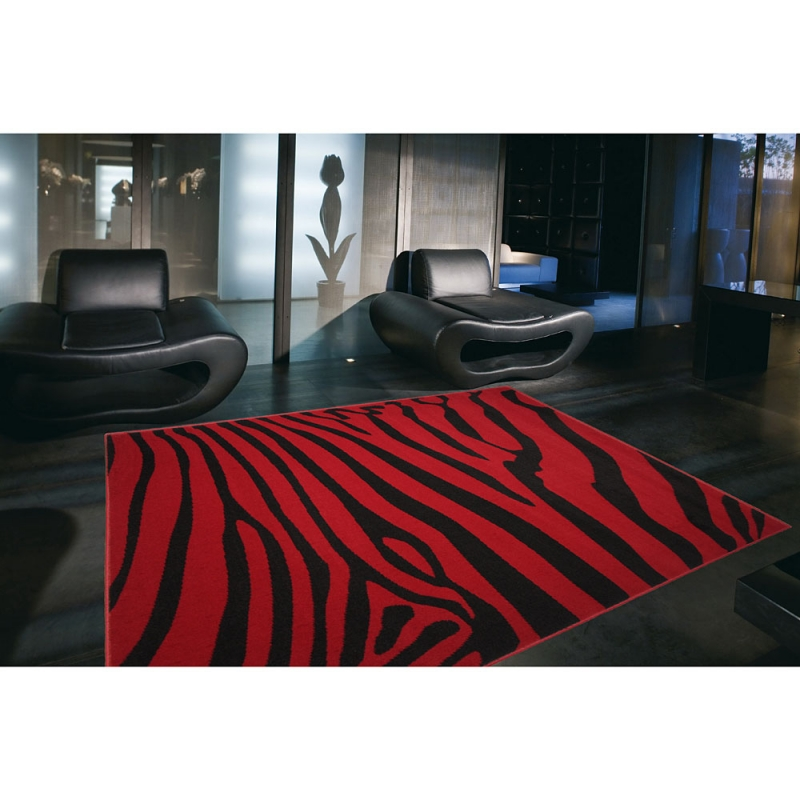 tapis design zebra rouge et noir 120x170. Black Bedroom Furniture Sets. Home Design Ideas