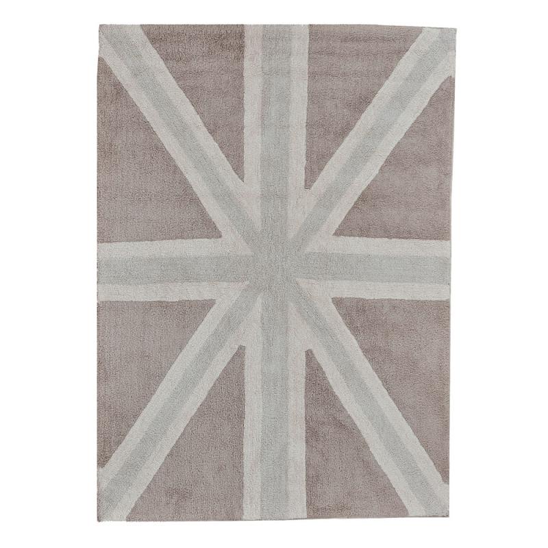 tapis enfant flag england marron et gris lorena canals 140x200. Black Bedroom Furniture Sets. Home Design Ideas