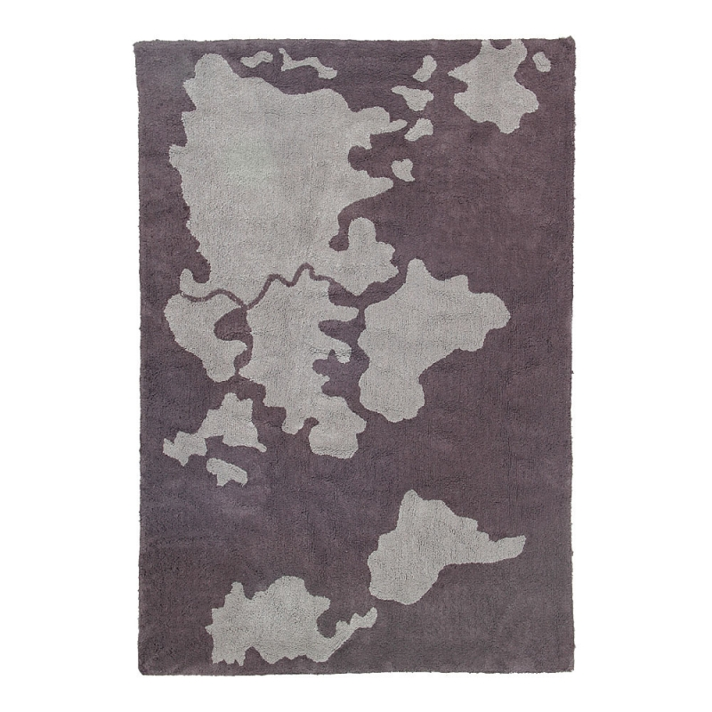 tapis enfant world map gris lorena canals 140x200. Black Bedroom Furniture Sets. Home Design Ideas