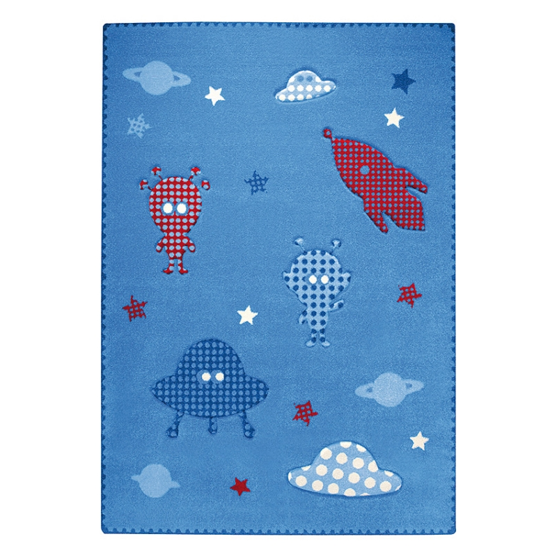 tapis bleu esprit home little astronauts 200x290. Black Bedroom Furniture Sets. Home Design Ideas