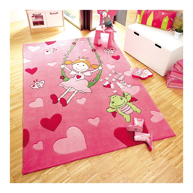 tapis enfant rose pinky queeny sigikid 140x200. Black Bedroom Furniture Sets. Home Design Ideas