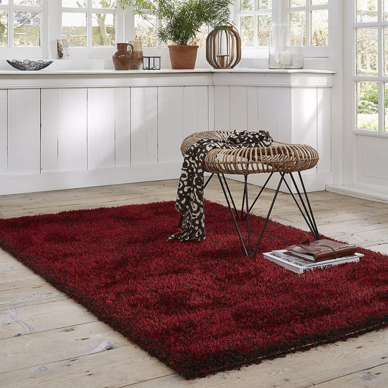 tapis cosy glamour shaggy rouge esprit home 120x170. Black Bedroom Furniture Sets. Home Design Ideas