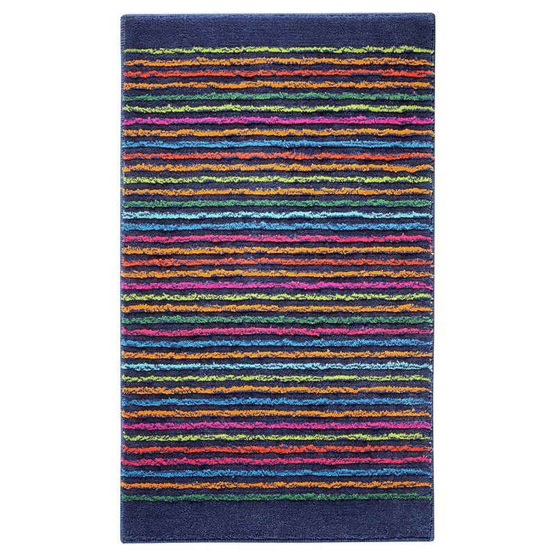 tapis de bain esprit home cool stripes bleu 60x100. Black Bedroom Furniture Sets. Home Design Ideas