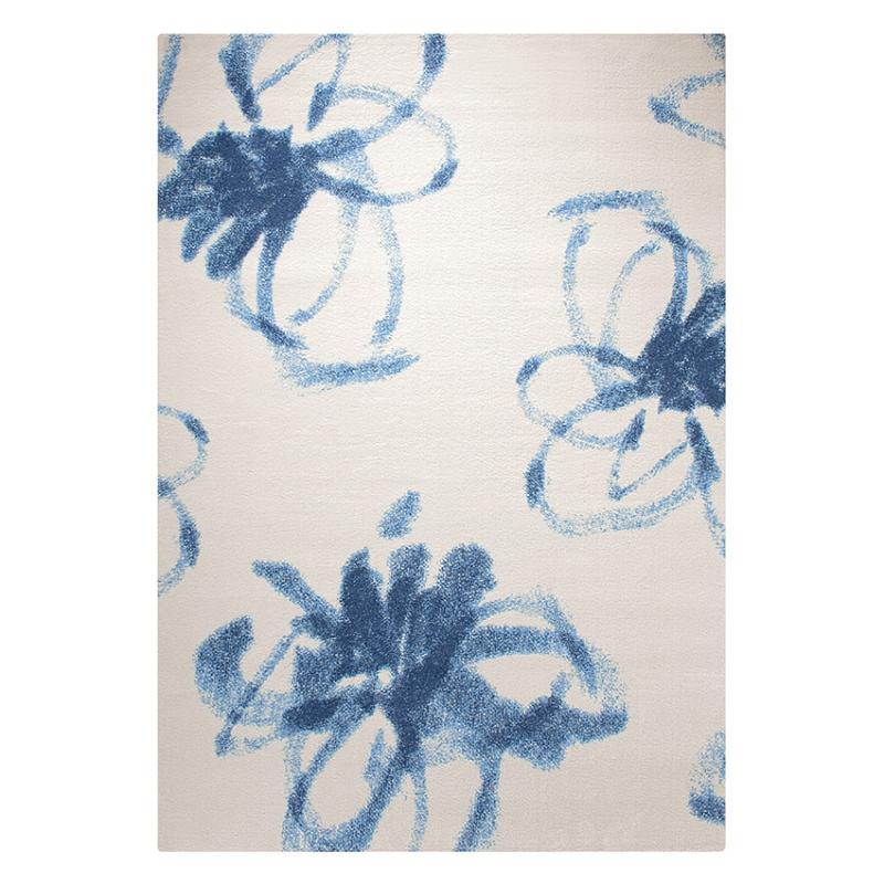 tapis graphic flower blanc et bleu esprit home 80x150. Black Bedroom Furniture Sets. Home Design Ideas