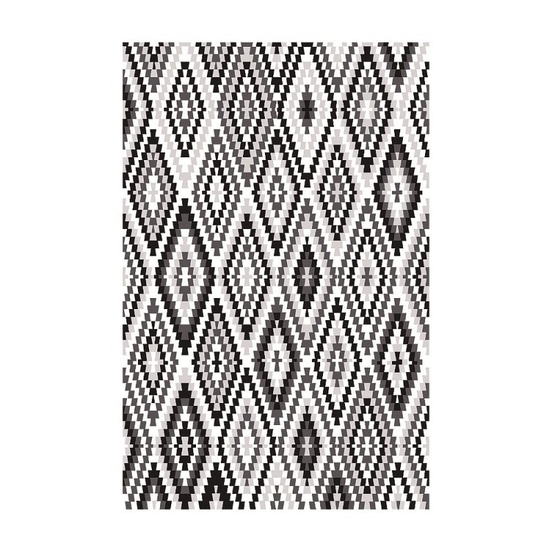 tapis fresh kelim esprit home noir et blanc 200x290. Black Bedroom Furniture Sets. Home Design Ideas