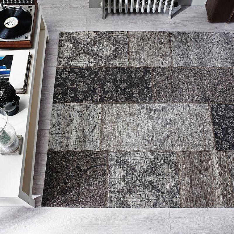 tapis moderne noir et or patchwork chenille flair rugs 120x170. Black Bedroom Furniture Sets. Home Design Ideas