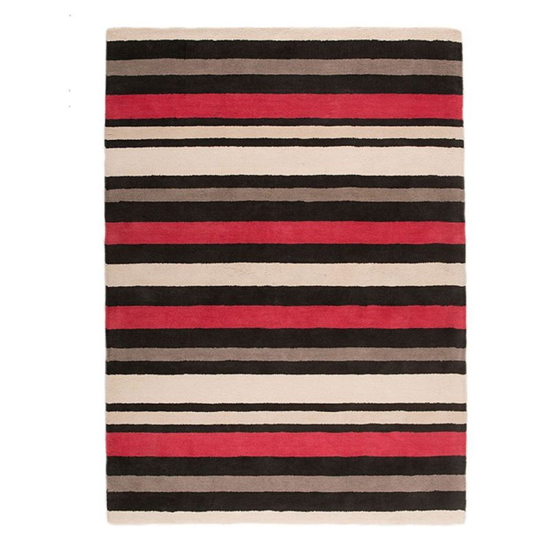 tapis noir et rouge cotton stripe flair rugs 120x170. Black Bedroom Furniture Sets. Home Design Ideas