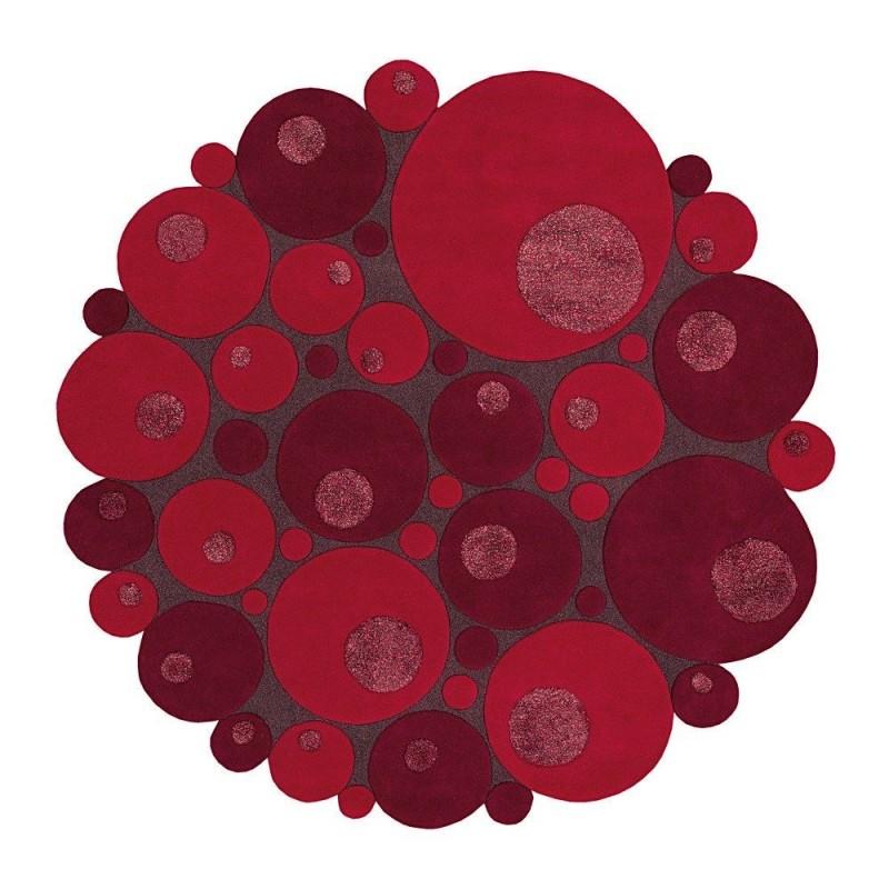 tapis rond laine tuft main rouge vitalize ligne pure. Black Bedroom Furniture Sets. Home Design Ideas