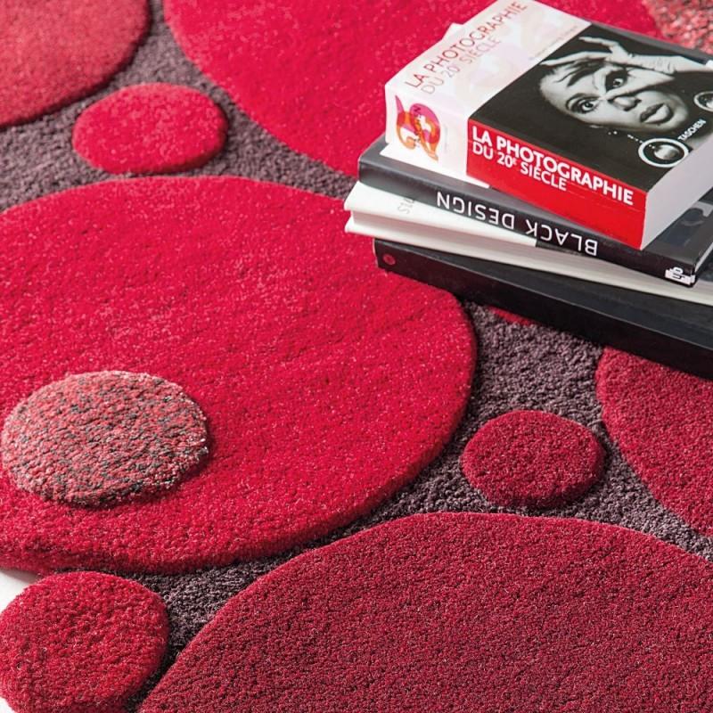 tapis laine tuft main rouge vitalize ligne pure 140x200. Black Bedroom Furniture Sets. Home Design Ideas