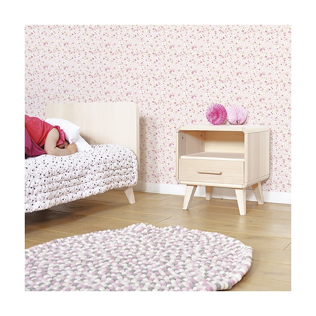 tapis enfant boules de laine karma misty rose poudr lilipinso 90x90. Black Bedroom Furniture Sets. Home Design Ideas