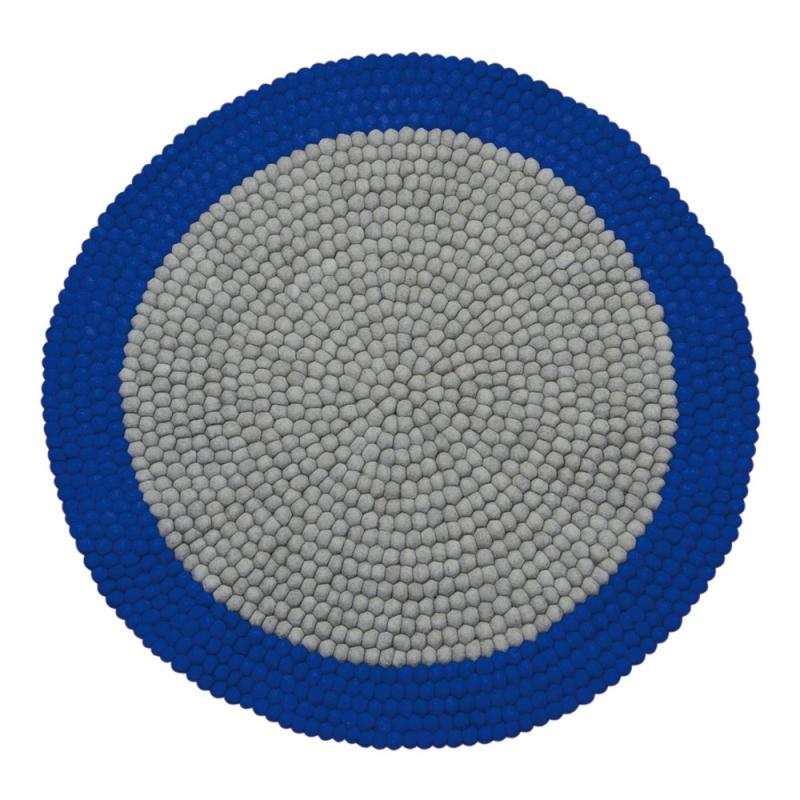 tapis enfant boules de laine neomix bleu lilipinso 90x90. Black Bedroom Furniture Sets. Home Design Ideas