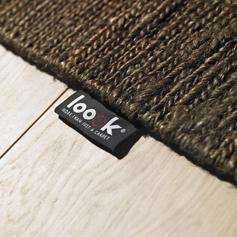 tapis chanvre tiss plat marron fonc 601 loook 140x200. Black Bedroom Furniture Sets. Home Design Ideas