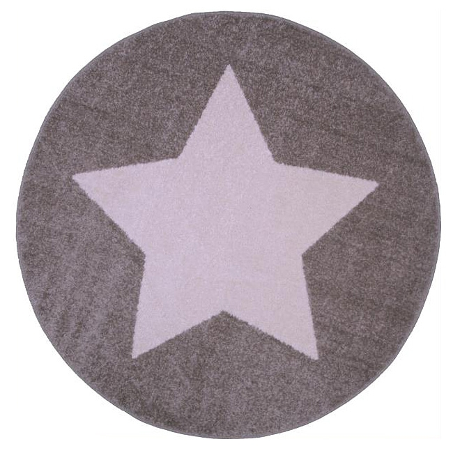 tapis enfant star taupe et blanc 120x120. Black Bedroom Furniture Sets. Home Design Ideas