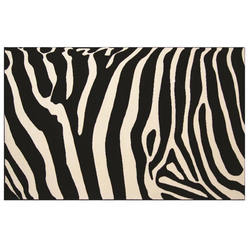 tapis design zebra noir et beige 120x170. Black Bedroom Furniture Sets. Home Design Ideas