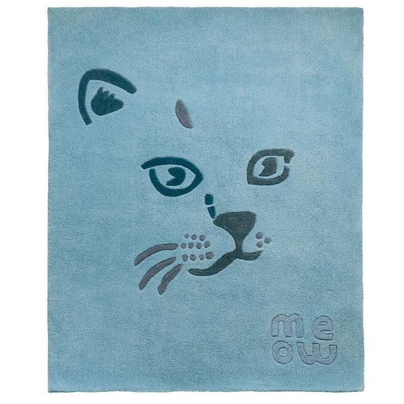 tapis enfant meow bleu art for kids 110x130. Black Bedroom Furniture Sets. Home Design Ideas