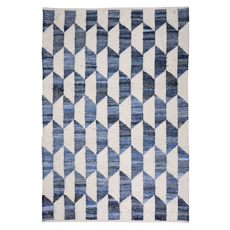 tapis kilim bleu en laine fait main cooper the rug republic 160x230. Black Bedroom Furniture Sets. Home Design Ideas
