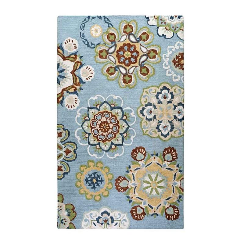 tapis tuft main medallion bleu the rug republic 160x230. Black Bedroom Furniture Sets. Home Design Ideas