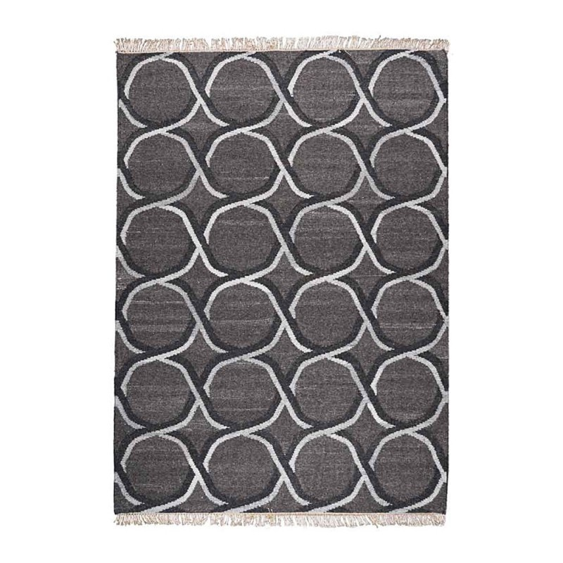 tapis kilim fait main sacramento fusain the rug republic 160x230. Black Bedroom Furniture Sets. Home Design Ideas